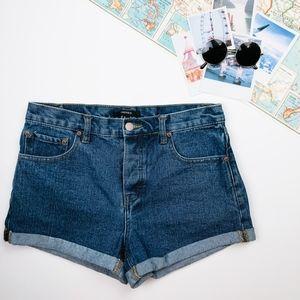 Forever21 Medium/Dark Wash Cuffed Denim Shorts
